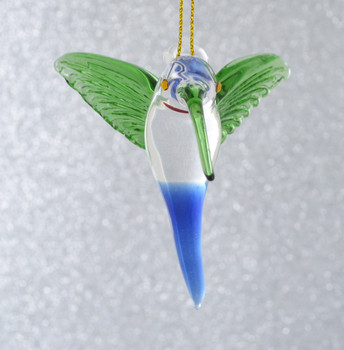 Clear with Green Wings Hummingbird Mouth Blown Egyptian Glass Ornament front