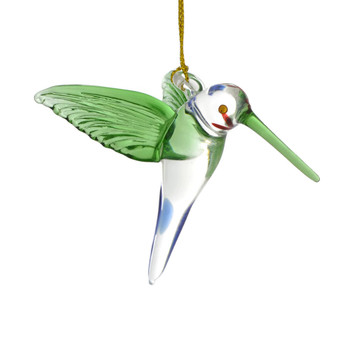 Clear with Green Wings Hummingbird Mouth Blown Egyptian Glass Ornament