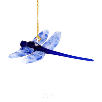 Dragonfly Mouth Blown Egyptian Glass Ornament - Blue and White