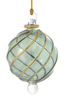 Green Round with Gold Swirl Mouth Blown Egyptian Glass Ornament