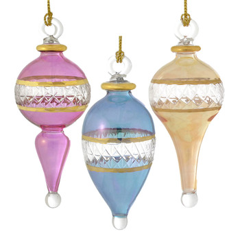 3 piece Small Long Shape Mouth Blown Egyptian Glass Ornaments Set