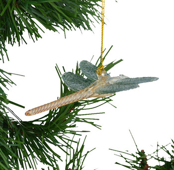 Aqua Yellow Dragonfly Mouth Blown Egyptian Glass Ornament on greenery
