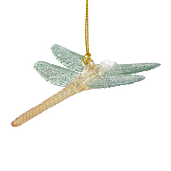 Aqua Yellow Dragonfly Mouth Blown Egyptian Glass Ornament