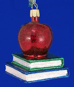 Teachers Apple Old World Christmas Glass Ornament 36128 inset