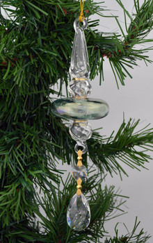 Green Long Multi Layer Mouth Blown Egyptian Glass Ornament Crystal Drop