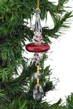 Red Long Multi Layer Mouth-Blown Egyptian Glass Ornament crystal drop