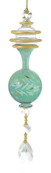 """Crystal Drop Gold Spiral and Round Mouth-Blown Egyptian Glass Ornament - Green, 8"""", EM_10579"""