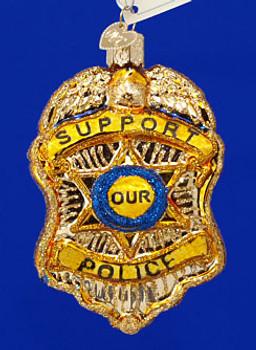 Police Badge Old World Christmas Glass Ornament 36129