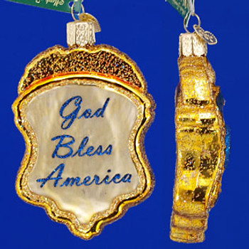 Police Badge Old World Christmas Glass Ornament 36129 inset