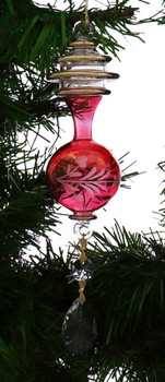 Gold Spiral and Round w/Drop Mouth-Blown Egyptian Glass Ornament - Red Garland View 1