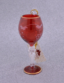 Red Wine Glass Mouth Blown Egyptian Glass Ornament  front