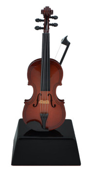 Mini Violin with Bow on Stand Gift Decor or Trophy