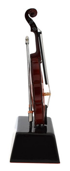 Mini Violin with Bow on Stand Gift Decor or Trophy side