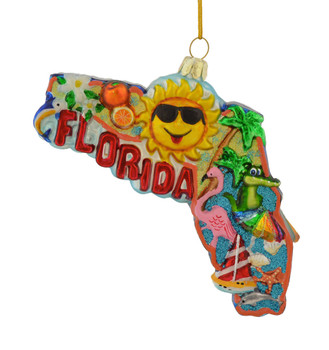 Florida Sunshine State Glass Ornament c7578 front view