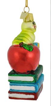 Bookworm Best Teacher Glass Ornament side back