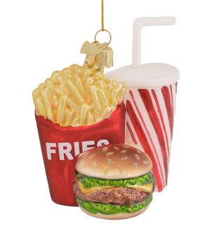 Fast Food Cheeseburger, Fries, Soda Glass Ornament NB1312