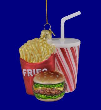 Fast Food Cheeseburger, Fries, Soda Glass Ornament NB1312 blue background