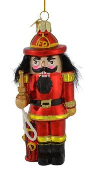 Fireman Nutcracker Glass Ornament by Kurt Alder