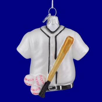 Baseball Themed Sports Glass Ornament Kurt Adler blue background