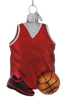 Basketball Themed Sports Glass Ornament