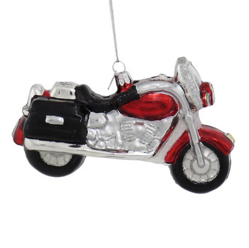Ready to Ride Motorcycle Glass Ornament right side