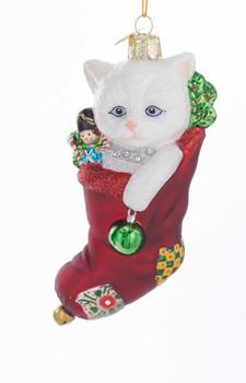 White Cat Stocking Stuffer Glass Ornament nb1370