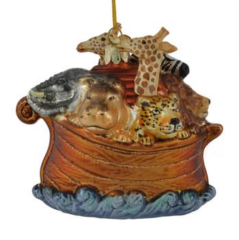 Jungle Safari and Reindeer Noah's Ark Glass Ornament nb1373 hippo side
