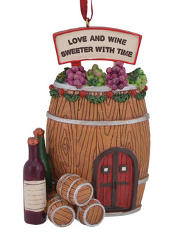 Wine Barrel Cottage House Christmas Ornaments c7629 love and wine