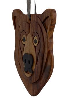 Brown Bear Intarsia Wood Ornament side