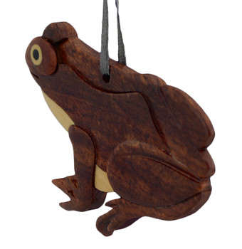 Frog Intarsia Wood Ornament back side