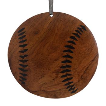 Baseball Intarsia Wood Ornament