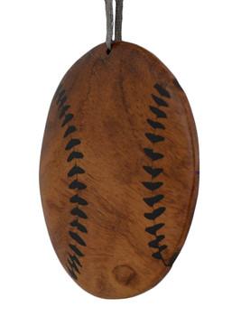 Baseball Intarsia Wood Ornament back side