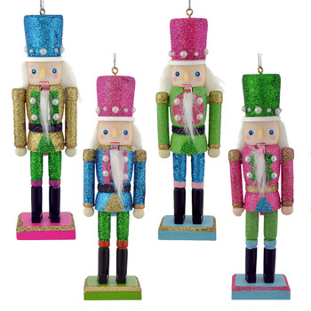 preppy wood nutcracker with pearls ornaments