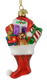 Dainty Stocking with Gifts Glass Ornament