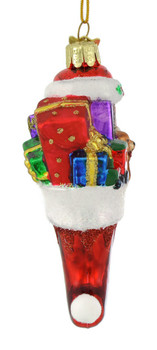 Dainty Stocking with Gifts Glass Ornament to side