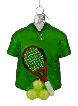 Tennis Themed Glass Ornament