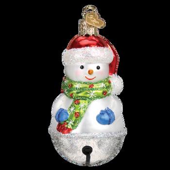 Jingle Bell Snowman Glass Ornament
