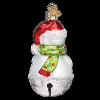 Jingle Bell Snowman Glass Ornament back