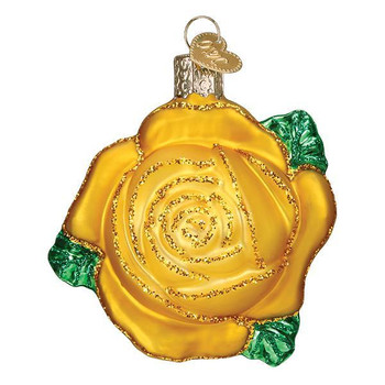 Yellow Rose Glass Ornament 36250 Old World Christmas