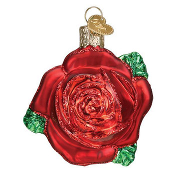 Red Rose Glass Ornament OWC 36251