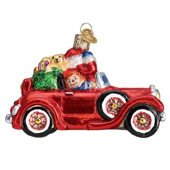 Santa in Antique Car Glass Ornament right side