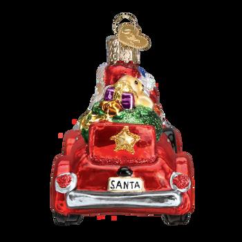 Santa in Antique Car Glass Ornament back