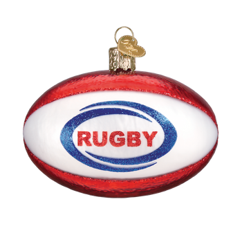 Rugby Ball Glass Ornament