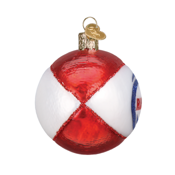 Rugby Ball Glass Ornament side