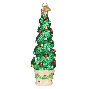 Holiday Topiary Glass Ornament side