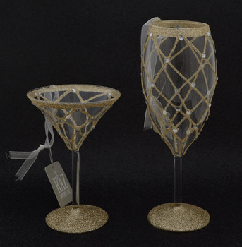Cocktail or Champagne Stemware Glass Ornament black background