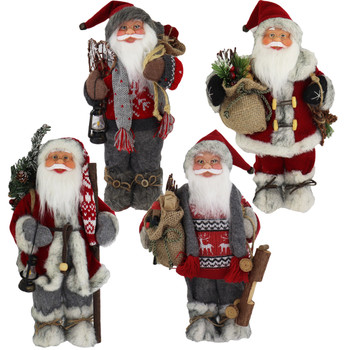 Fabric with Faux Fur Boots Santa Doll Figurines 12 inches