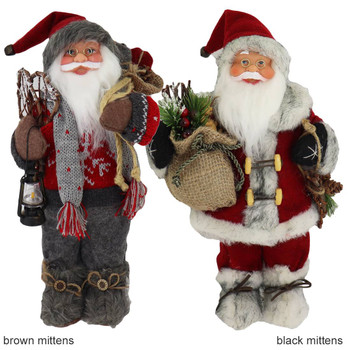 Fabric with Faux Fur Boots Santa Doll Figurines 12 inches brown and black mittens front