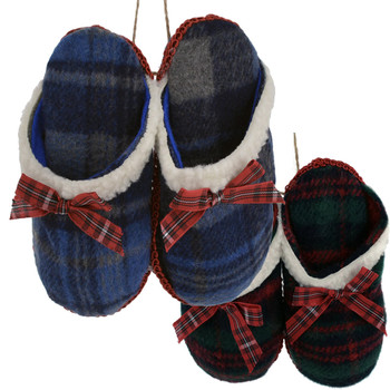 Winter Plaid Fabric Pair of Slippers Ornaments