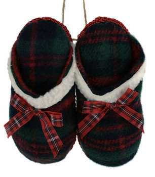 Green Winter Plaid Fabric Pair of Slippers Ornament